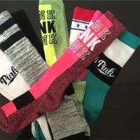 Wholesale Victoria Knee High Pink socks for girls Long Sports Football Skateboard cotton Stockings winter Leg Warmer Pink Socks VS love socks
