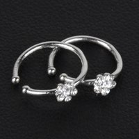 Wholesale FedEx Express Small Thin Flower Clear Crystal Nose Ring Stud Hoop Sparkly Crystal Nose Ring for girlfriend birthday gift