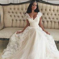 arab designers wedding dresses - Arab Robe De Mariage Designer A line Cap Sleeve Wedding Dress Sexy Backless Lace Wedding Dresses