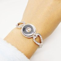 Wholesale Heart Shape Crystal Ginger Snaps Jewelry Clasp Snap Bracelets MM Fit Snap Button Snaps Bracelet