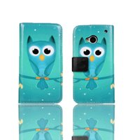 animations cell phone - HTC One2 M8 The owl animation phone cases plain wallet style pure color fashion business android cell phone cases