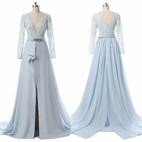 Nouveau Real Pictures Sky Blue Sheer Deep V-Neck Robes de soirée Illusion Pearls Court Train A-Line Custom Made Simple Long Prom Gown Red Carpet