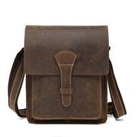 antique leather satchel - Antique Genuine Leather Men Messenger bag Flap bag Cross body bag Crazy Horse Leather Gentleman Handbag Brown