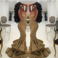 Wholesale 2017 Gold Mermaid Prom Dresses Sequins Spaghetti Straps Side Split Floor Length Tiered Formal Evening Party Gowns Custom Made