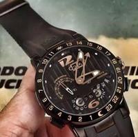 antique perpetual calendar - High Quality Luxury Mens Stainless Wristwatches UN El Toro Perpetual Calendar GMT Black Face Rubber Ulysse Men Mechanical Automatic Watches