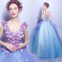 Wholesale 2017 new blue flowers deep v collar bride wedding bridesmaid dress toast dress long dress evening party party performance costumes