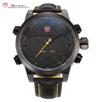 achat en gros de requin montres pour hommes en cuir-Vente en gros - Sawback Angel Shark Sport Montre Mens Noir Jaune Digital Dual Movement 3D Logo Steel Case Montres LED Montre bracelet en cuir / SH204