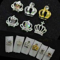 Wholesale Mix Crystal Glitter Rhinestones Strass Crown Shape New D Metal Alloy Nail Art Charm Decorations Nail Tools