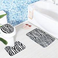 Wholesale Leopard skins three piece toilet The bathroom water antiskid mat sets