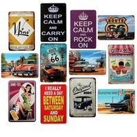 Wholesale x30cm ROUTE KEEP CALM AND ROCK ON vintage metal painting signs for house bar pub wall decor tin sign plaques poster
