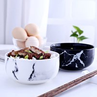 Wholesale Marble grain rice bowls kitchen dinnerware home decoration creative design ceramic bowl noodle soup bowl ceramic tools
