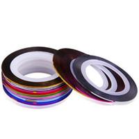 Wholesale 10 Mix Color Rolls Striping Tape Metallic Yarn Line Nail Art Decoration UV Gel Tips Line Sticker DIY Decal
