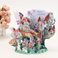 art postcards - pc Flower Fairy DIY D Pop Up Greeting Card Laser Cut Origami Paper Craft Art Birthday Greeting Card Postcards