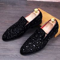 Wholesale Black Rhinestone Loafer Male overshoes feet young men loafers Rhinestone set auger low help shoes pointed leather shoes Slip on Flats