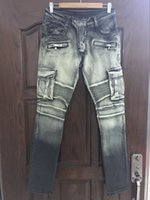 Wholesale NWT BP Men s Stylish Fashion Stretch Cargo Pant washed biker Green Black Jeans Size Epacket Fast
