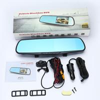Wholesale Hot sale Car DVR Recorder Rearview Night Vision Mirror x1080P fps Dual Lens x720 degree G Sensor General TFT DVR