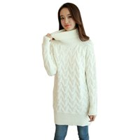 Wholesale Fashion Autumn Winter Thick Twist Long Sweater Dress For Women Long Knitted Dresses Turtleneck Sweaters And Pullover Jumper