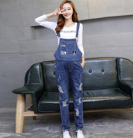 Wholesale 2016 Mommy Zone For Pregnant Woman Autumn Clothing All match Denim Bib Pants Maternity Hole Jumpsuits