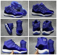 achat en gros de womens chaussures de basket-ball d'escompte-2017 Retro 11 Velvet Heiress bleu Hommes Chaussures de basket-ball Athlétisme Sports Chaussures Discount Sports Femmes Mens Air Retro 11s Sneakers