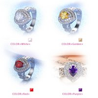 Wholesale Silver Plated Crystal CZ Stone Ring Engagement Wedding Couple Wedding Ring New Pandora Heart Rings