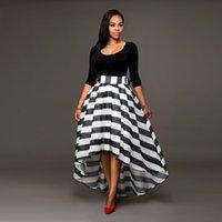 al por mayor two piece dresses-Vestidos de blanco y negro Vestidos de longitud de tobillo Falda rayada O cuello Falda de traje de dos piezas Blusa de manga larga de color sólido