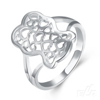 Wholesale Valentine s Day new silver Bear rings heart to heart hollow silver jewelry for women