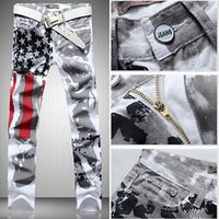 american flag denim - Fashion hot mens designer jeans men robin jeans famous brand robin jeans denim with wings american flag jeans plus size
