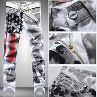Men american flag denim - Fashion hot mens designer jeans men robin jeans famous brand robin jeans denim with wings american flag jeans plus size