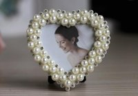 Wholesale ABS Resin Pearl Photo Frame Wedding Birthday Gifts Round Heart and Oblong Shape A26