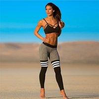 al por mayor polainas de yoga para las mujeres-Moda mujer Yoga trajes de secado rápido pantalones apretados negro y blanco rayas costura pantalones de yoga otoño pantalones deportivos pantalón impresión A111435