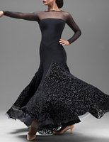 Wholesale New Ballroom Dance Dress Modern Waltz Standard Competition Velvet Flower Dress B01
