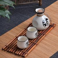 antique hip flask - Antique ceramic wine jug Japanese wine set porcelain wine logo