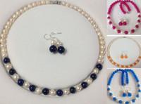 akoya pearl set - 4Colors Natural White Akoya Cultured Pearl Gemstones Necklace Earrings Set