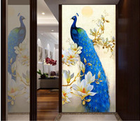 Wholesale Noble blue peacock magnolia oil painting mystery mural d wallpaper d wall papers for tv backdrop