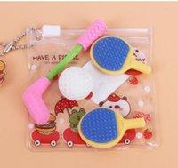 baseball erasers - MIX4PCS kawaii Cartoon baseball racket toy kawaii Student Korean stationery school Supplies material eraser for kids