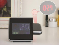 Wholesale Projection Alarm Clock Calendar Digital Weather Forecast LCD screen Snooze Alarm Clock Projector Color Display LED Backlight