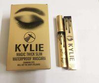 Wholesale Kylie Jenner Mascara Magic thick slim waterproof Black Eye Mascara Long Eyelash Charming eyes Cosmetic Mascara Gold Birthday Pack