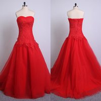 Real Pictures Red Long Prom Robes Strapless Lace-up Applique Dropped Tulle Sweep Train Party Pageant Evening Gown Custom Made Actual Image