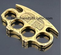 Wholesale 1pcs Hell detective Constantine Brass Knuckle dusters Gold Self defense Equipment