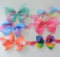 Cloth bb band - 2017 thread bow baby hair band rainbow gradient magic color diamond child elastic band hair BB hair band in stock