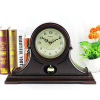 antique pendulum mantel clock - Classical European stylish clock antique mantel clocks big display with bezel standing quartz clock for desktop pendulum