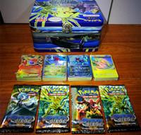 achat en gros de jeux pokemon vidéo-2017 Poke Card Games 200 pcs = une boîte en étain 4 sacs = un étain enfants adulte Poke English jeu de cartes en fer design A102730