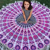 bedspread covers - Round Indian Mandala Tassel Decor Tapestry Sports Towel Wall Hanging Bohemia Beach Throw Towel Yoga Mat Cover Up Bedspread