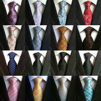 Revisiones Corbatas de seda-185 Corbatas de los hombres del color Corbatas Corbatas de seda de Paisley delgadas Lazo hecho a mano clásico del negocio de lazo de la boda Lazo de Paisley de los lazos de las rayas de los puntos de la tela escocesa 16pcs
