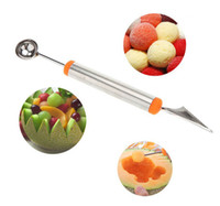 Wholesale Double End Multi Function Stainless Steel Fruit Baller Carving Knife Ice Cream Scoop Spoon Kitchen Gadgets Cook Tools