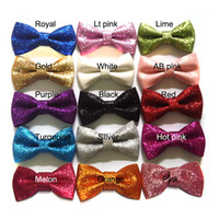 Wholesale 3inch glitter bows without clips baby hair bows Girl s Sequin fabric bows Kid s hair accessories