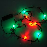 Wholesale LED Christmas Light Holiday Flashing Light Bulbs Necklace String Lights Party Necklaces Xmas Children Gift Decoracion Fiestas