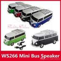 achat en gros de jouets de voiture de carte-Haut-parleur de voiture de bus WS-266 Mini haut-parleurs de voiture portable Subwoofers Deep Bass Support TF carte USB MP3 Player ws266 Haut-parleurs de jouets de Noël