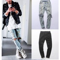 Wholesale New Autumn Distressed Skinny Ripped hip hop Jeans Mens Big Hole On Knee Swag Streetwear Clothes Destroy Denim fear of god jeans