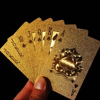 Wholesale Appealing High Grade K Gold Foil Poker Lattice Grid Pattern Playing Cards new